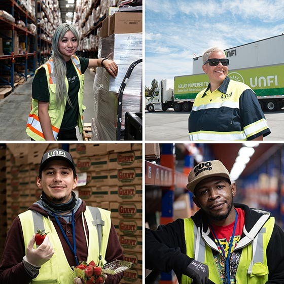 Fresh produce, truck, child with lunch